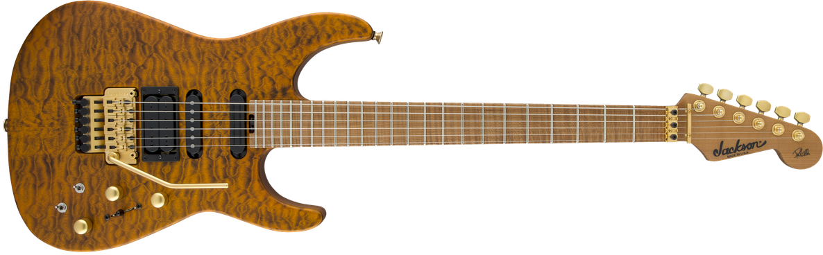 USA Signature Phil Collen PC1™ Satin Stain, Caramelized Flame Maple Fingerboard, Satin Transparent Amber
