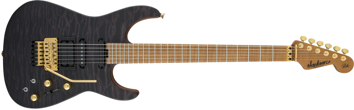USA Signature Phil Collen PC1™ Satin Stain, Caramelized Flame Maple Fingerboard, Satin Transparent Black