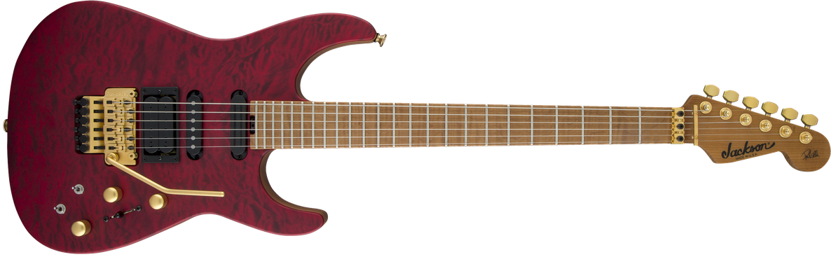 USA Signature Phil Collen PC1™ Satin Stain, Caramelized Flame Maple Fingerboard, Satin Transparent Red
