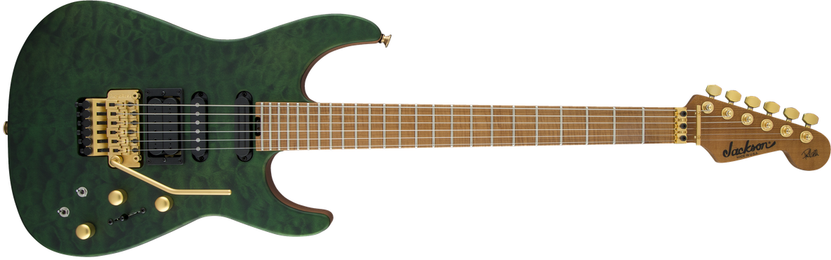 USA Signature Phil Collen PC1™ Satin Stain, Caramelized Flame Maple Fingerboard, Satin Transparent Green