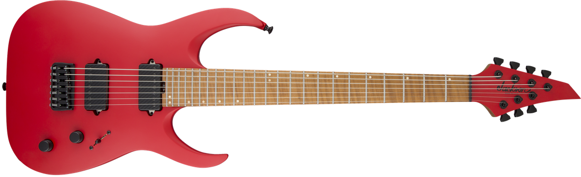 USA Signature Misha Mansoor Juggernaut HT7, Caramelized Flame Maple Fingerboard, Satin Red
