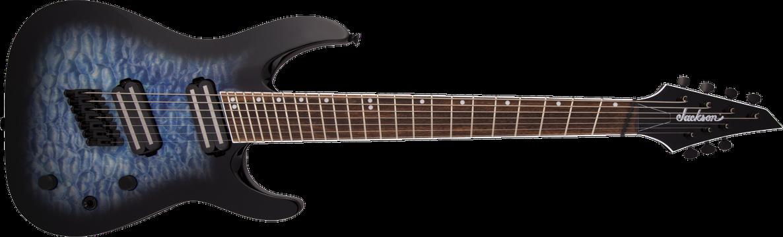 X Series Soloist™ Arch Top SLATX7Q MS, Laurel Fingerboard, Multi-Scale, Transparent Blue Burst